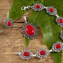 Komplet srebrnej biżuterii koral